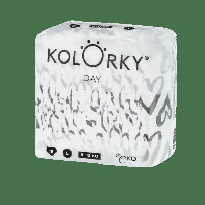 KOLORKY  DAY - srdce - L (8-13 kg) - 19 ks - jednorázové eko plenky