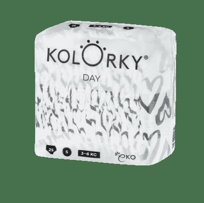 KOLORKY  DAY - srdce - S (3-6 kg) - 200 ks MĚSÍČNÍ ZÁSOBA - jednorázové eko plenky