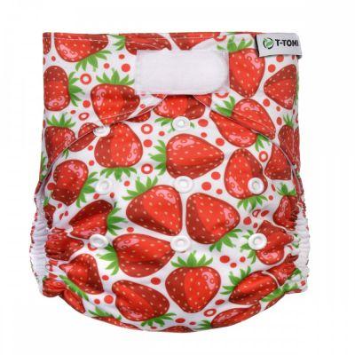 T-TOMI Kalhotková plena AIO - přebalovací set suchý zip - strawberries