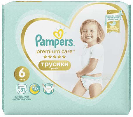 PAMPERS Premium Care Pants 6 MAXI (15+ kg) 31 ks Value Pack – plenkové kalhotky