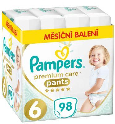 PAMPERS Premium Care Pants 6 MAXI (15+ kg) 98 ks MĚSÍČNÍ ZÁSOBA - plenkové kalhotky