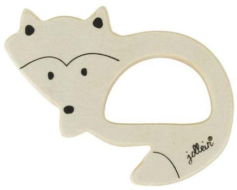 JOLLEIN Dřevěná hračka, kroužek do ručičky – Fox