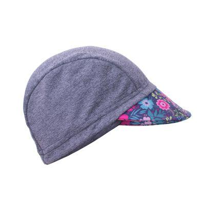 UNUO Funkční čepice s kšiltem UV 50+Květinky, šedá L (53 - 58 cm)