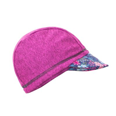 UNUO Funkční čepice s kšiltem UV 50+Květinky, malinová M (49 - 52 cm)