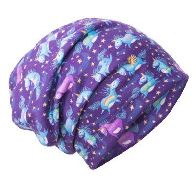 UNUO Fleecová čepice Jednorožci M (49 - 52 cm)