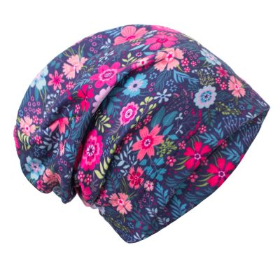 UNUO Fleecová čepice Květinky M (49 - 52 cm)