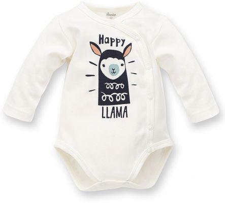 PINOKIO Body zavinovací dlouhý rukáv Happy Llama vel. 56 – écru
