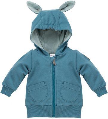 PINOKIO Mikina na zip s kapuci Happy Llama vel. 74 – tyrkysová