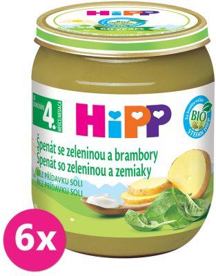 6x HiPP BIO Špenát se zeleninou a brambory 125 g – zeleninový příkrm