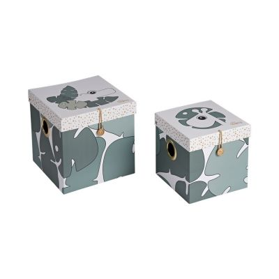 DONE BY DEER Set krabiček Tiny Tropics 2 ks, 25 x 25 cm a 21 x 21 cm