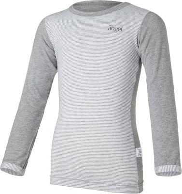 LITTLE ANGEL Tričko tenké proužek dlouhý rukáv Outlast® vel. 92 – šedý melír/pruh šedobílý melír