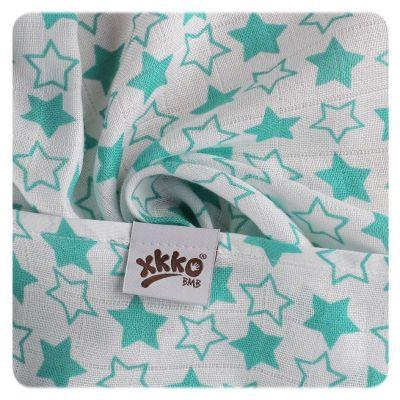 KIKKO Bambusové pleny BMB 70x70 - Little Stars Turquoise MIX 3ks