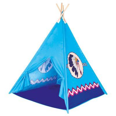 BINO Dětský stan TeePee modrý, 4 stěny