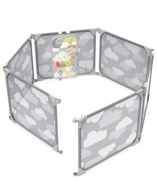 SKIP HOP Ohrádka / zábrana s hracím panelem 2v1 rozšiřitelná grey 6 m+