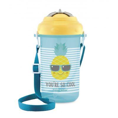 CANPOL BABIES Cestovní sportovní láhev se slámkou a víčkem Ananas 400 ml