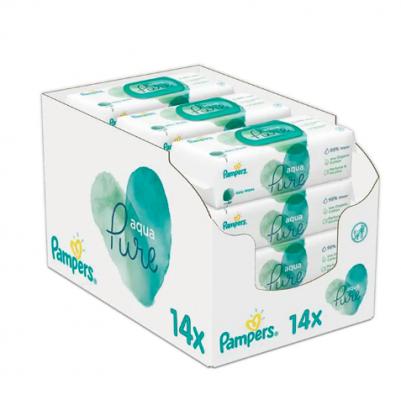 14x PAMPERS Aqua Pure 48 ks - detské čistiace obrúsky