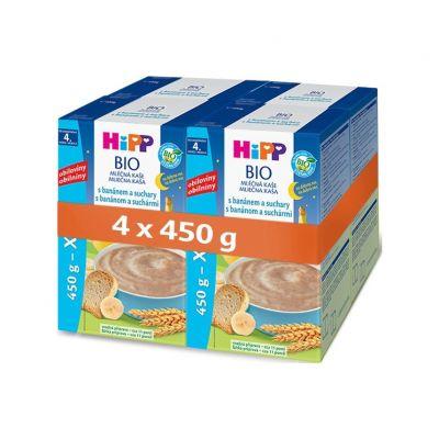 4x HiPP BIO Na dobrou noc s banánem a suchary 450 g - mléčná kaše