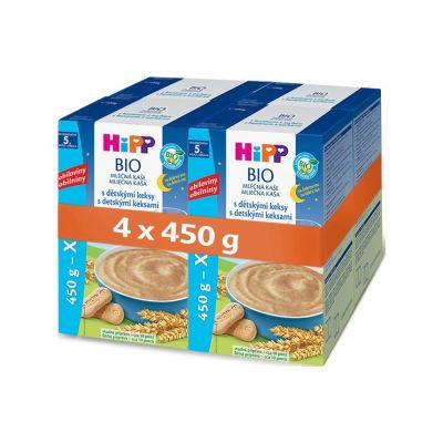 4x HiPP BIO Na dobrou noc s dětskými keksy 450 g - mléčná kaše