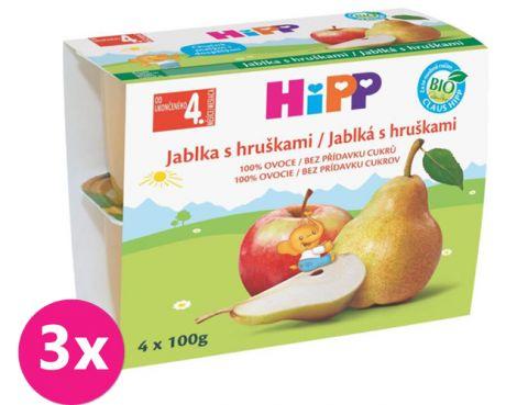 3x HiPP BIO jablkový s hruškami (4x100 g) - ovocný příkrm