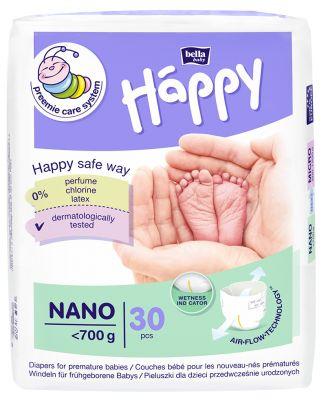 BELLA HAPPY BABY Nano (do 0,7 kg) 30 ks – jednorázové pleny