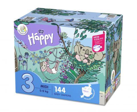 BELLA HAPPY BABY Midi (5-9 kg) Box 2x72 ks – jednorázové pleny