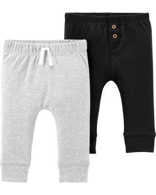 CARTER'S Kalhoty dlouhé 2 ks, šedá/černá - 3 m/vel. 62
