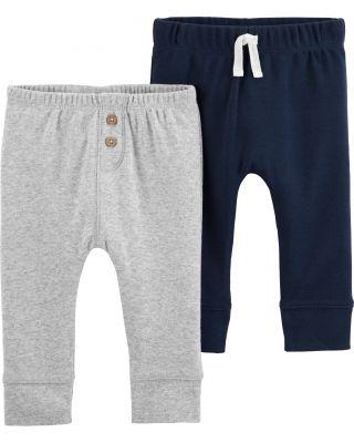 CARTER'S Kalhoty dlouhé 2 ks, šedá/modrá - 6 m/vel. 68
