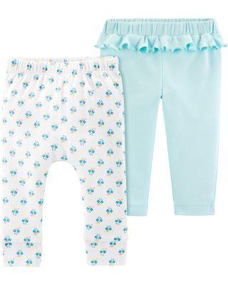 CARTER'S Kalhoty dlouhé 2 ks, bílá/modrá - 3 m/vel. 62