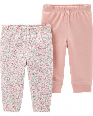 CARTER'S Kalhoty dlouhé 2 ks, růžová/kytičky - PRE/vel. 46
