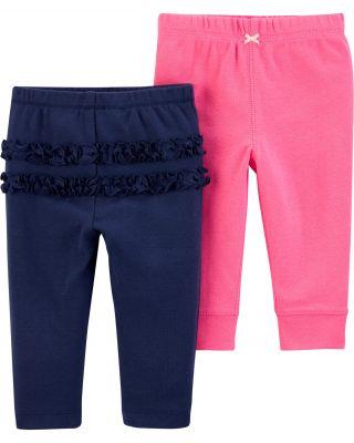 CARTER'S Kalhoty dlouhé 2 ks, modrá/růžová - 3 m/vel. 62