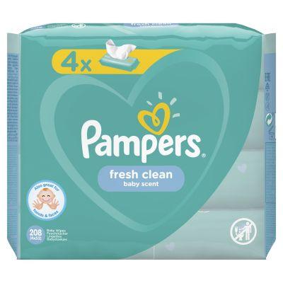 4x PAMPERS Fresh Clean 52 ks - vlhčené ubrousky