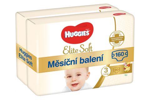 HUGGIES Elite Soft 3 (160 ks) měsíční balení - jednorázové pleny