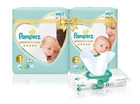 PAMPERS Premium Care Starter Pack S1 + S2 + Aqua Pure Chusteczki dla niemowląt 48 ks