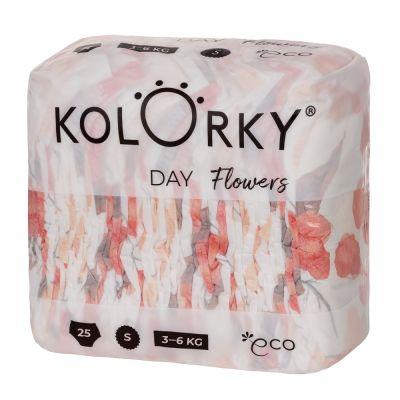 KOLORKY DAY - květy - S (3-6 kg) - 25 ks - jednorázové eko plenky