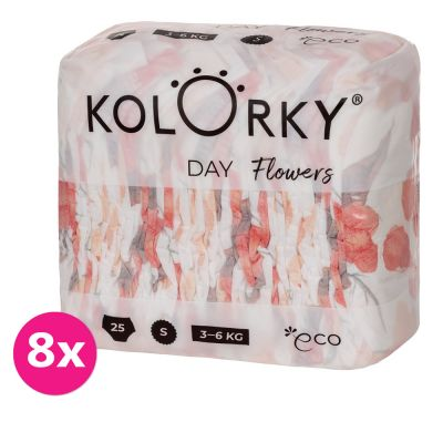 KOLORKY DAY - květy - S (3-6 kg) - 200 ks MĚSÍČNÍ ZÁSOBA - jednorázové eko plenky