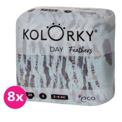 KOLORKY DAY - peří - S (3-6 kg) - 200 ks MĚSÍČNÍ ZÁSOBA - jednorázové eko plenky