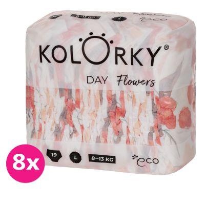KOLORKY DAY - květy - L (8-13 kg) - 152 ks MĚSÍČNÍ ZÁSOBA - jednorázové eko plenky