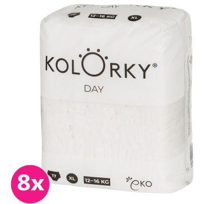 KOLORKY DAY NATURE - XL (12-16 kg) - 136 ks MĚSÍČNÍ ZÁSOBA - jednorázové eko plenky