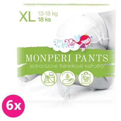 6x MONPERI Pants XL (13-18kg) 18ks – jednorázové plenkové kalhotky