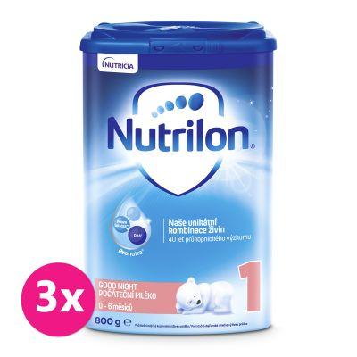 3x NUTRILON 1 Good Night počáteční kojenecké mléko 800 g, 0+