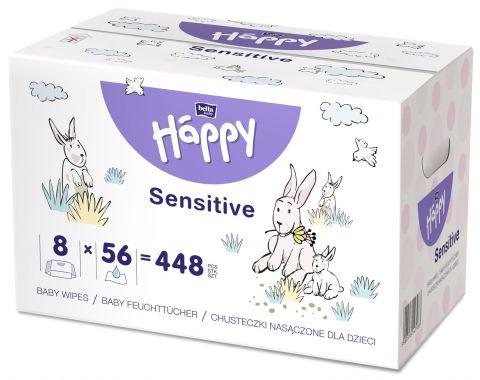 BELLA HAPPY Baby Vlhčené ubrousky Sensitive (8x56 ks)
