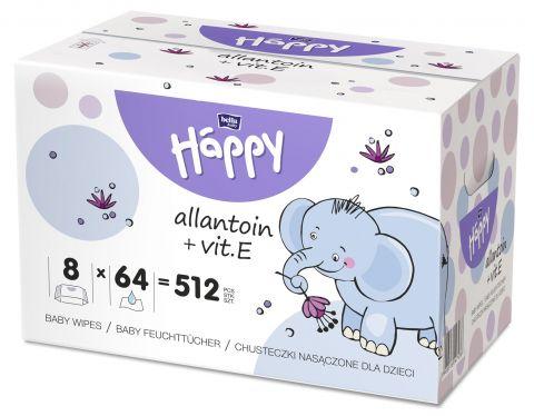 BELLA HAPPY Baby Vlhčené ubrousky s vitamínem E (8x64 ks)