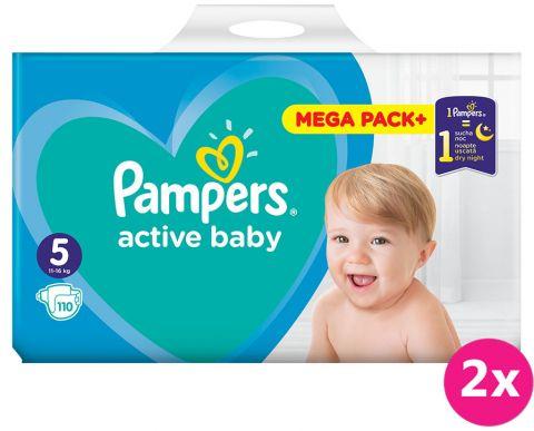 2x PAMPERS Active Baby 5 (11-16 kg) 110 ks MEGA PACK – jednorázové pleny