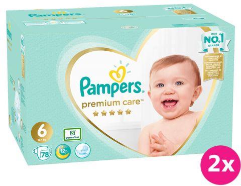 2x PAMPERS Premium Care 6 (13+ kg) 78 ks MEGA BOX – jednorázové pleny