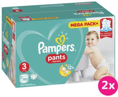 2x PAMPERS Pants 3, 120 ks (6-11 kg) MEGA Box - plenkové kalhotky