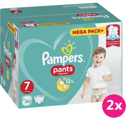 2x PAMPERS Active Pants 7 (17+ kg) 80 ks MEGA BOX – plenkové kalhotky
