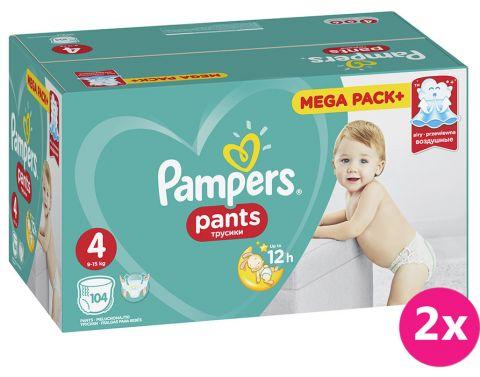 2x PAMPERS Pants 4, 104 ks (9-15 kg) MEGA Box - plenkové kalhotky