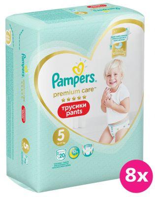 8x PAMPERS Premium Care Pants 5 JUNIOR (12-17 kg) 20 ks Carry Pack – plenkové kalhotky