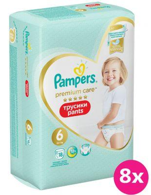 8x PAMPERS Premium Care Pants 6 MAXI (15+ kg) 18 ks Carry Pack – plenkové kalhotky
