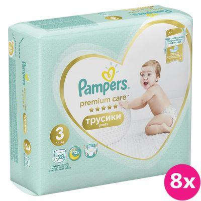 8x PAMPERS Premium Care Pants 3 MIDI (6-11 kg) 28 ks Carry Pack – plenkové kalhotky